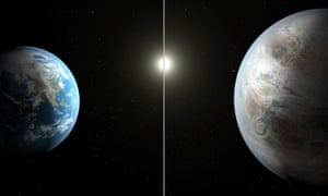 Artist's rendition of Earth, left, and the planet Kepler-452b – the first near-Earth-size planet orbiting in the habitable zone of a sun-like star, found using data from Nasa's Kepler mission.