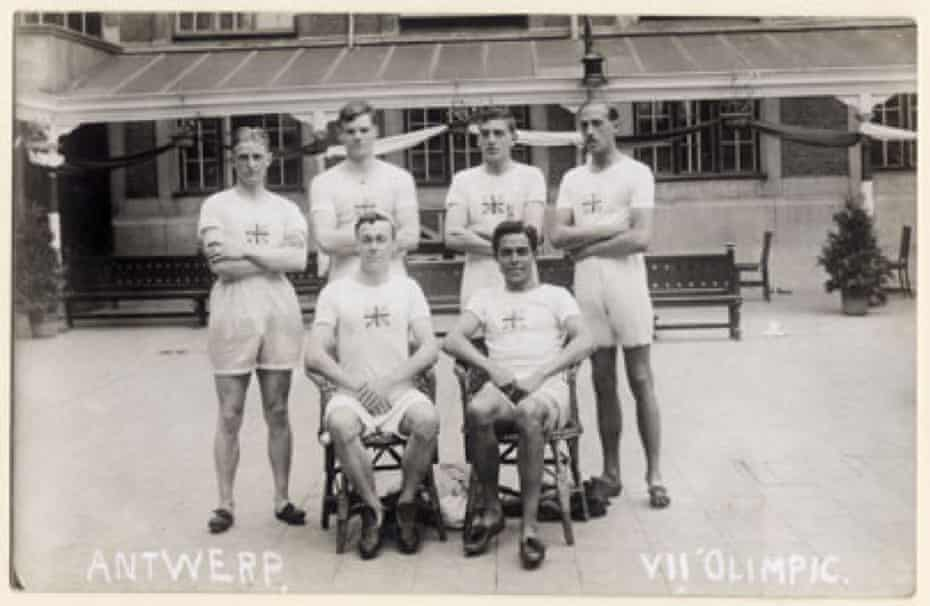The British sprint team for the 1920 Olympics.Back: Bill Hill, Guy Butler, Harold Abrahams and Denis Black. Front: Victor D'Arcy and Harry Edward
