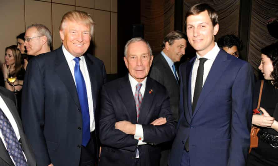 Donald Trump, Mike Bloomberg and Jared Kushner in New York, New York, on 14 March 2013.
