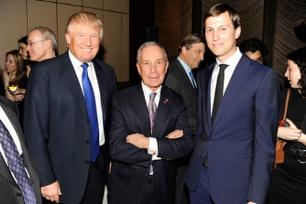 Mike Bloomberg with Donald Trump and Jared Kushner at the New York Observer's 25th anniversary in 2013.