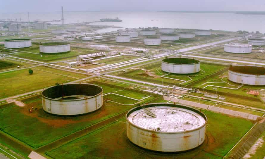 A Shell-owned oil-pumping site in the Niger Delta region of Nigeria.