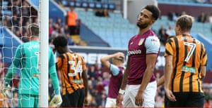 Aston Villa's Andre Green looks dejected after missing a chance when it would have been easier to score.