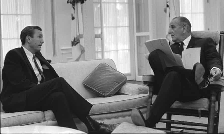 Ramsey Clark talks with President Lyndon B Johnson in the Oval Office in June 1968.