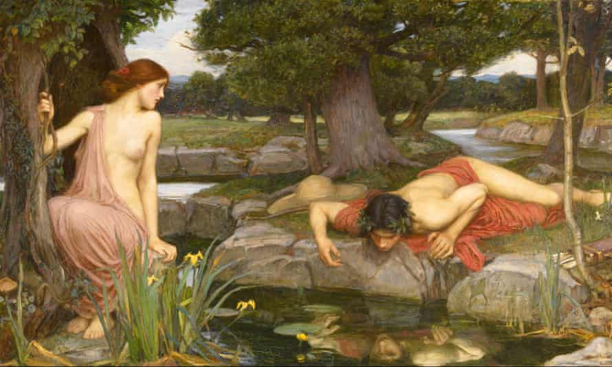 Echo and Narcissus, by John William Waterhouse, 1903. Echo watches as Narcissus stares at his reflection in a pond