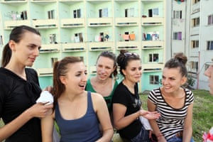 Young volunteers at the Family Planning Association of Albania gather at their university residence in Tirana
