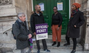 Health fears ... Lambeth library workers during the protest.