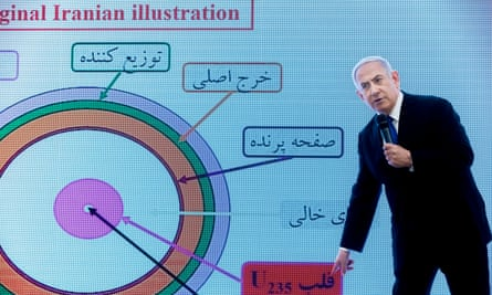 Benjamin Netanyahu describes how Iran has allegedly continued with its nuclear capabilities, in Tel Aviv, Israel Monday.