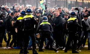 Dutch police clash with demonstrators in Amsterdam last weekend.