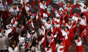 North Korean and South Korean athletes enter the stadium.