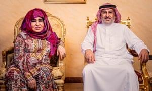 Alia Ghanem at home in Jeddah, Saudi Arabia, with her son Ahmad