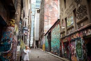 Hosier Lane in a nearly deserted Melbourne