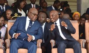 Joseph Kabila and Felix Tshisekedi at the inauguration ceremony