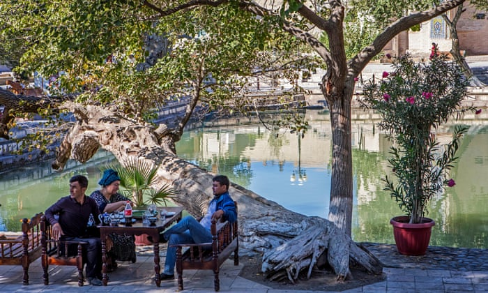 Traditional tea house in Lyabi-Hauz square, Bukhara. Photograph: Lucas Vallecillos/Alamy