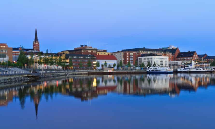 Luleå waterfront, at twilight. Sweden.