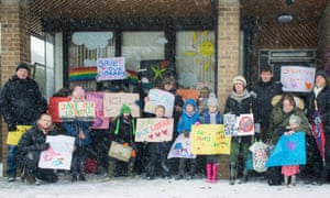Children protest outside Brackley Library on 1 March 2018, after swingeing library cuts were announced throughout the county.