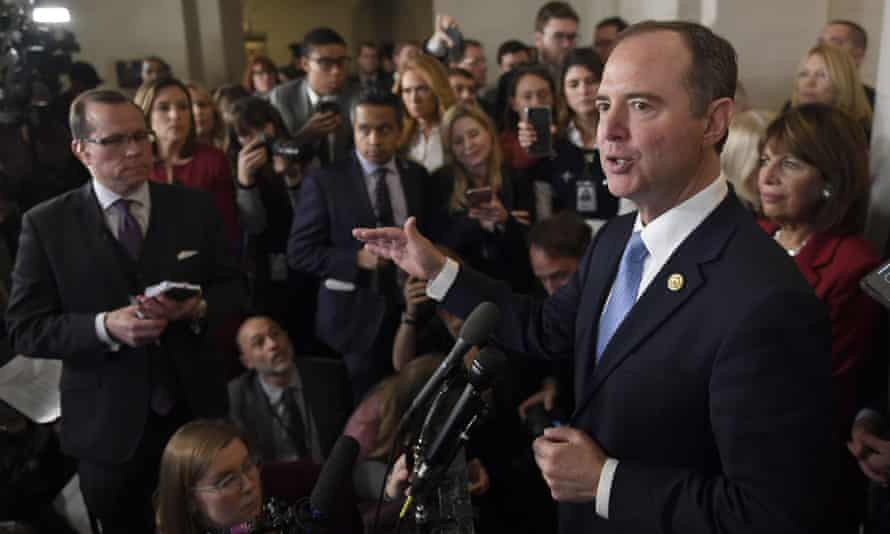 Schiff speaks to reporters on Capitol Hill.