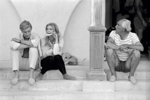 **Michael Caine and Candice Bergenand Anthony Quinn during the filming of Guy Green's 1968 film The Magus