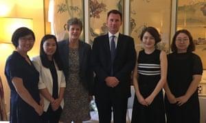 Jeremy Hunt with (from left) human rights lawyer Wang Yu, Xu Yan, wife of detained lawyer Yu Wensheng, British ambassador to China Barbara Woodward, Li Wenzu, wife of detained lawyer Wang Quanzhang, and Wang Qiaoling, wife of lawyer Li Heping