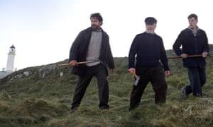 from left, Gerard Butler, Peter Mullan and Connor Swindells in The Vanishing.