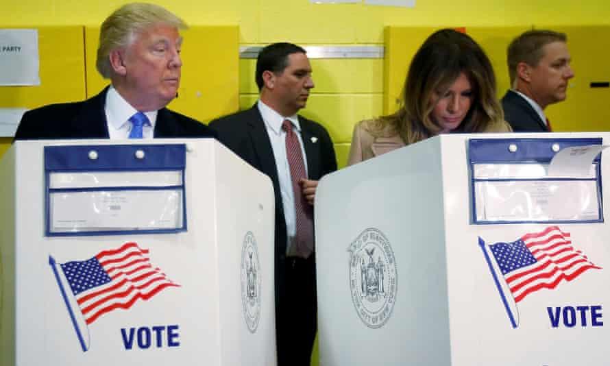Donald Trump and his wife Melania Trump vote