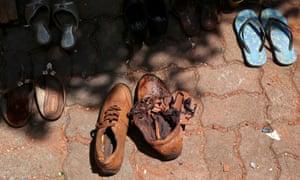 Shoes at St Sebastian's Catholic church in Negombo.