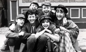 The cast of The Baker Street Boys, 1983, the drama series about a group of urchins who assist Sherlock Holmes, which was co-written by Anthony Read.