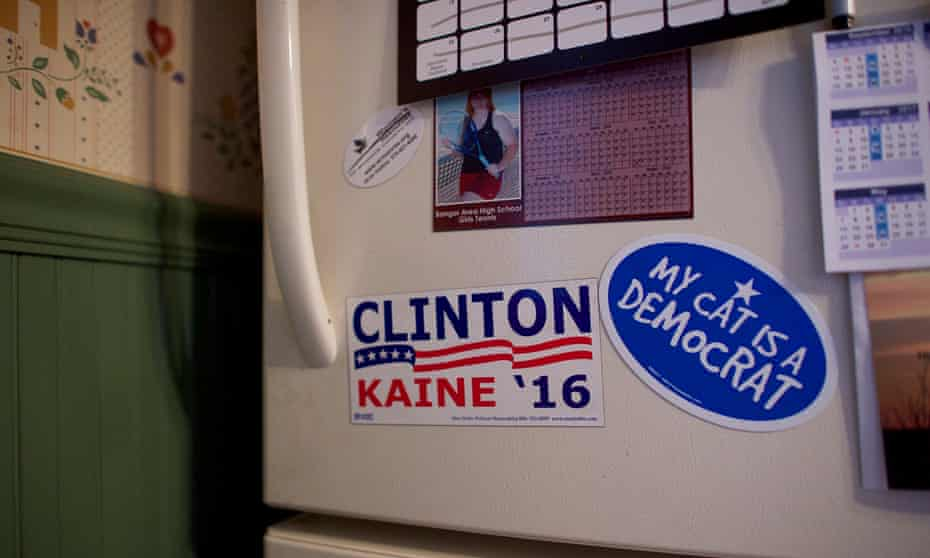 A Hillary Clinton magnet is displayed on the refrigerator of Jennifer Newland
