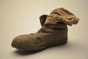 This child's shoe and sock were found in January 1945 among thousands of others at Auschwitz-Birkenau—abandoned by the Nazis as the Red Army approached