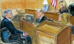 Courtroom sketch shows Paul Manafort listening to Judge Amy Berman Jackson in the US district courtroom during his sentencing hearing, in Washington DC on 13 March.