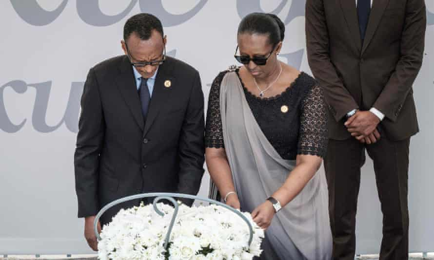 Paul Kagame and his wife, Jeannette, during the ceremony in Kigali