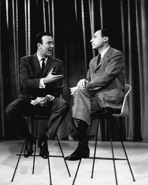 Carl Reiner, left, and Mel Brooks on The Ed Sullivan Show in 1961.