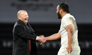 Billy Vunipola of England and Eddie Jones head coach of England.