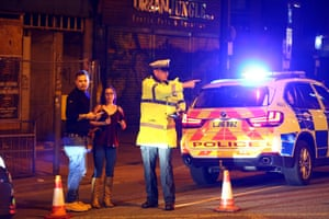 Police cordon off a street close to the Manchester Arena.