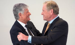 Maurice Lévy of Publicis, left, with John Wren of Omnicom in 2013.
