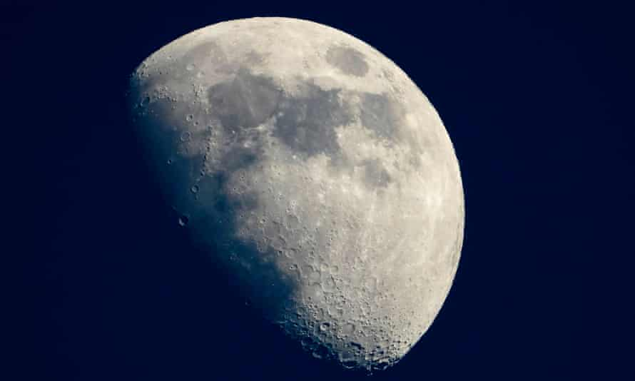 A view of the moon from Cannes, southern France, in May 2019.