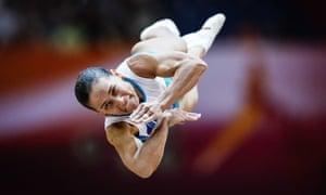 Oksana Chusovitina in action in the world championships in Doha