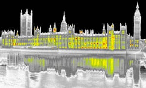 Infrared imaging shows CO2 and heat loss from the Houses of Parliament, London. Last year the government scrapped new rules on Zero Carbon Homes.