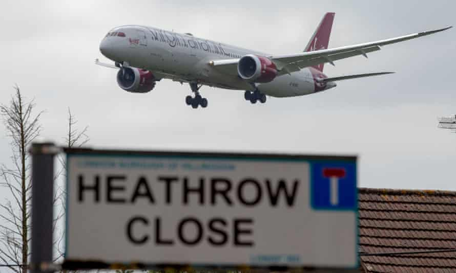 A plane approaching Heathrow airport