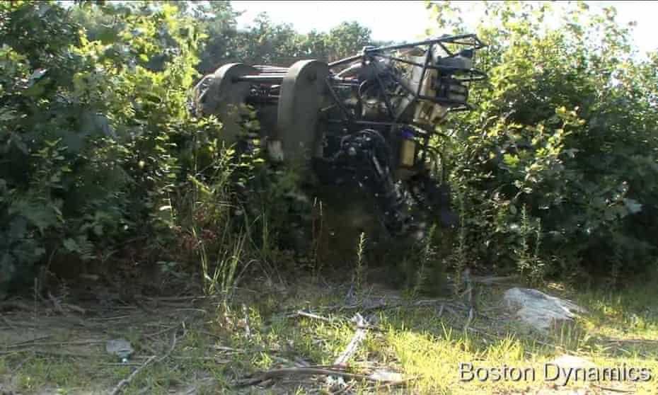 A Boston Dynamics LS3 tramping through the undergrowth.