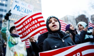 A rally in New York on 1 February, 2017 against Donald Trump's ban on people from seven Muslim countries.
