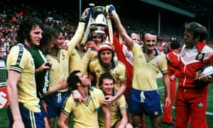 Southampton players celebrate winning the FA Cup in 1976 with a 1-0 defeat of Manchester United.