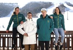 Australian mogul skiers Britt Cox, Matt Graham, Brodie Summers and Jakara Anthony.