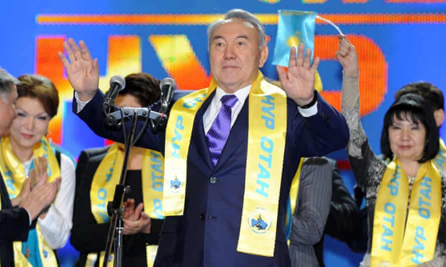 President Nazarbayev (centre) in 2012 at a forum of his Nur Otan party in the Kazakh capital, Astana