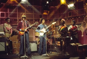 Bob Marley and the Wailers, including Bunny (second right) on the BBC's Old Grey Whistle Test in 1973