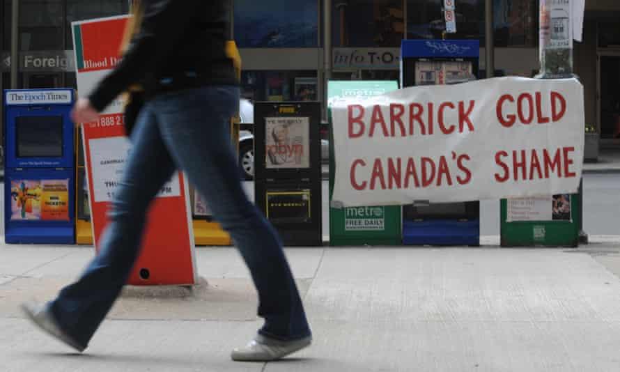 Sign reading Barrick Gold Canada's Shame