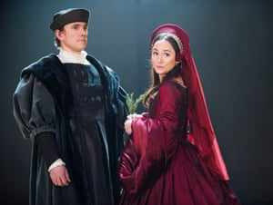 Ben Miles as Thomas Cromwell and Lydia Leonard as Anne Boleyn in Wolf Hall, 2014