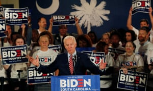 Biden speaks at a rally in Columbia, South Carolina, on the night of the New Hampshire primary.