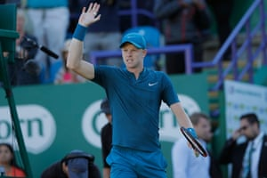 Kyle Edmund celebrates his straight sets victory over Andy Murray.