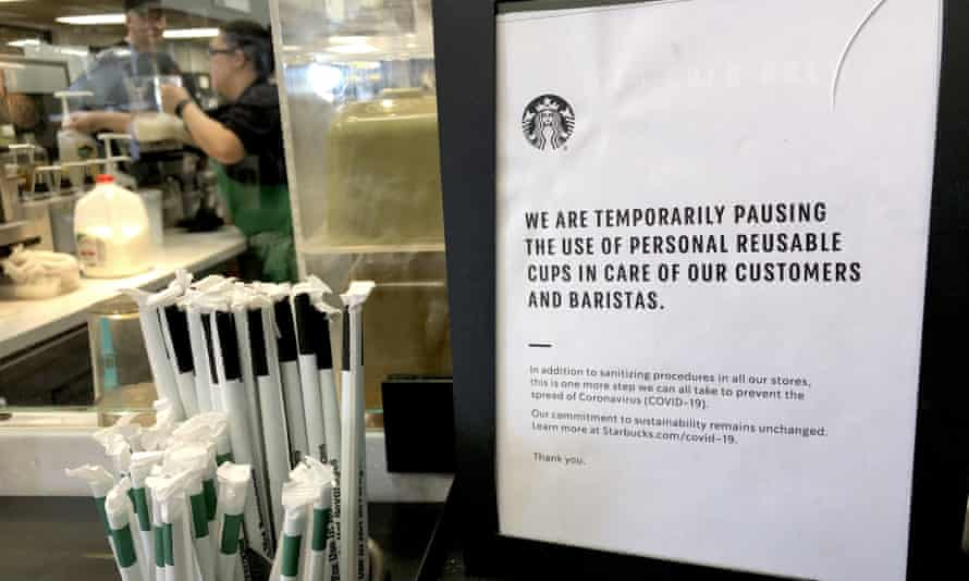 A sign at a Starbucks in the US in March