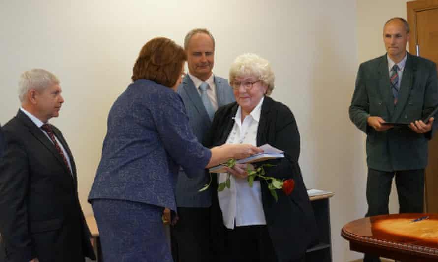 Zoja Saulite at naturalisation ceremony in Daugavpils, Latvia